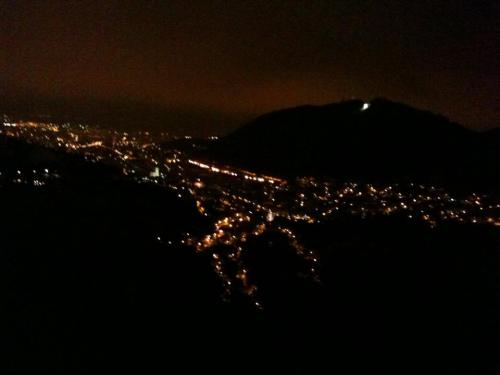 Brasov at night coming down the road from Pioana