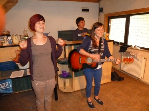 Rodica and Serena kicking off the worship time